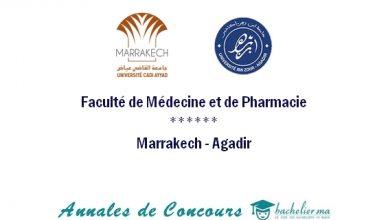 Annales de Concours FMP Marrakech et Agadir 2018